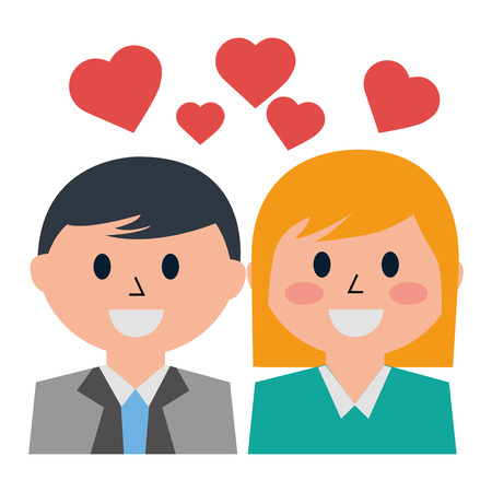 business people with hearts icon vector illustration design