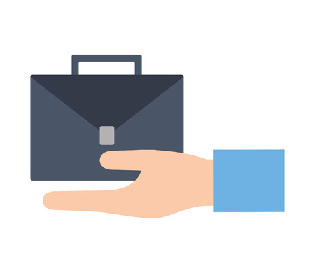 hand with portfolio briefcase isolated icon vector illustration design Stock Illustratie