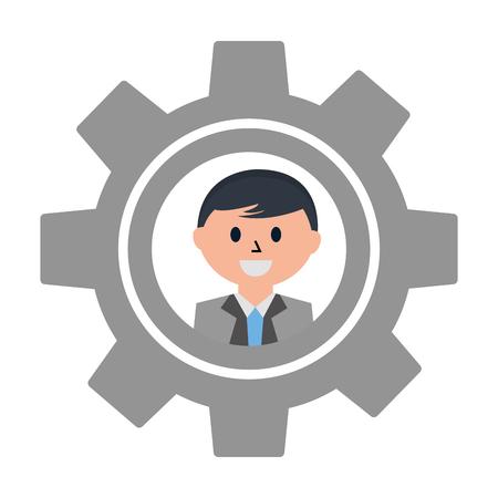 macchina ad ingranaggi con la faccia di uomo d'affari icona illustrazione vettoriale design
