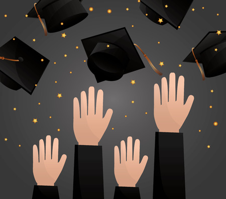 congratulations graduation hands up hats in the air celebration vector illustration