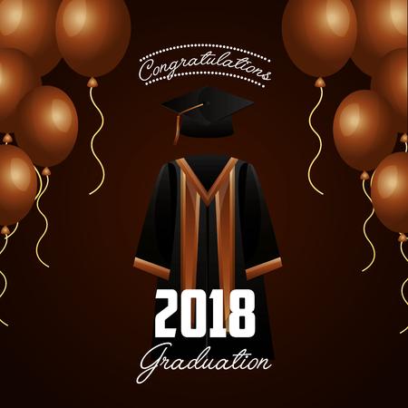 congratulations graduation brown balloons celebration dress sign vector illustration