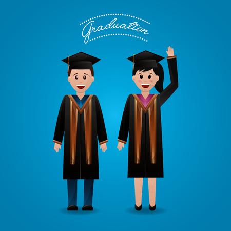 congratulations graduation happy students greeting hand up vector illustration