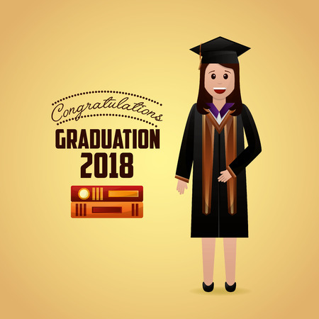 congratulations graduation cute girl student smiling books sign vector illustration 일러스트