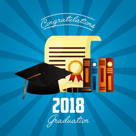 congratulations graduation books certificate hat sign colors vector illustration