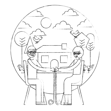grandparents sitting in chairs garden house vector illustration hand drawing Illusztráció