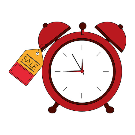 alarm clock hour tag price commerce vector illustration