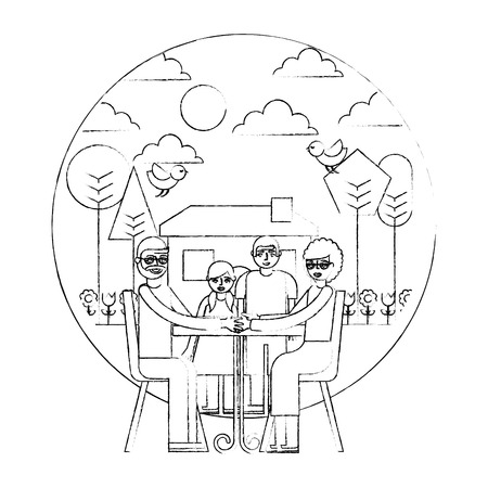 grandparents sitting in chairs and childrens garden house vector illustration hand drawing