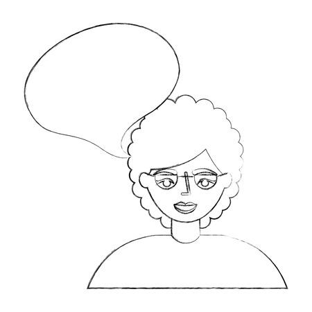Retrato anciana abuela hablar burbuja ilustración vectorial dibujo a mano