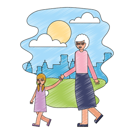 cute grandmother with granddaughter in landscape vector illustration design