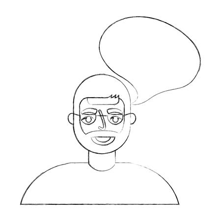 portrait old man grandpa talk bubble vector illustration hand drawing