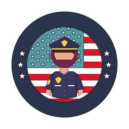 officer police with usa emblem vector illustration design