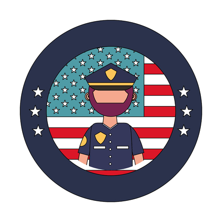 officer police with usa emblem vector illustration design