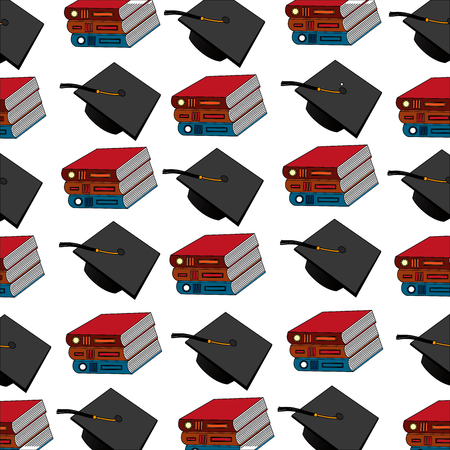 pile books with graduation hats pattern vector illustration design
