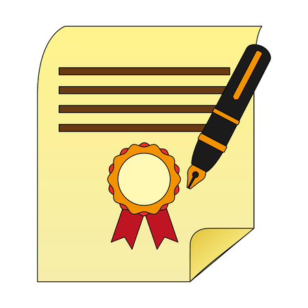 parchment diploma graduation with pen vector illustration design