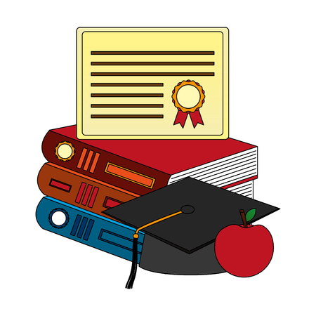 parchment diploma and hat graduation with books vector illustration design