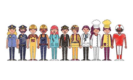 Grupo de personas trabajadores profesionales día del trabajo ilustración vectorial