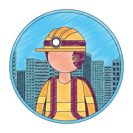 worker miner portrait character city vector illustration Ilustracja