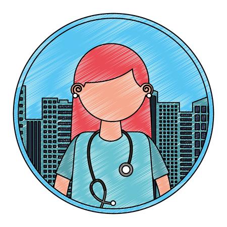female doctor portrait character city vector illustration