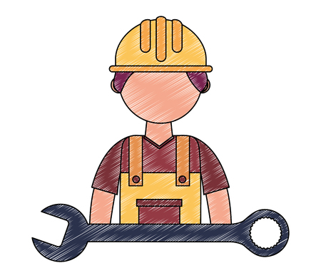 construction man worker in hardhat and wrench vector illustration