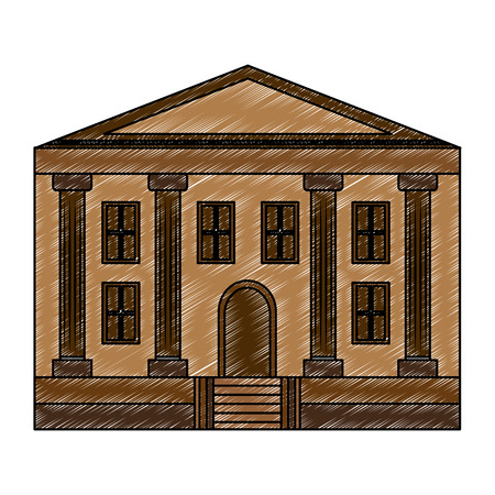 school building facade architecture education vector illustration Ilustracja