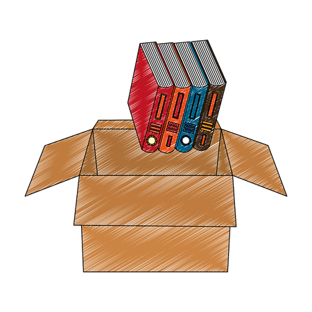 organize books in the box vector illustration
