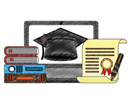 computer books graduation hat certificate and fountain pen vector illustration