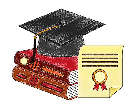 grduation hat pile books and diploma vector illustration