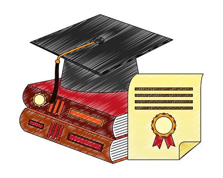libros de pila de sombrero de graduación y diploma ilustración vectorial