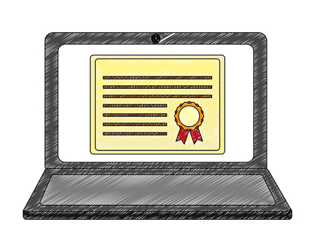 laptop computer with graduation certificate vector illustration