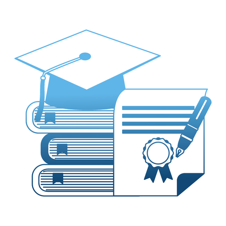 parchment diploma and hat graduation with books vector illustration design Ilustrace