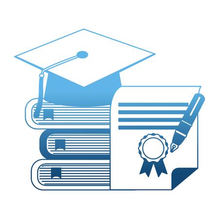 parchment diploma and hat graduation with books vector illustration design Ilustração