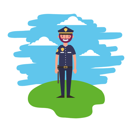 policeman in uniform standing in the landscape vector illustration