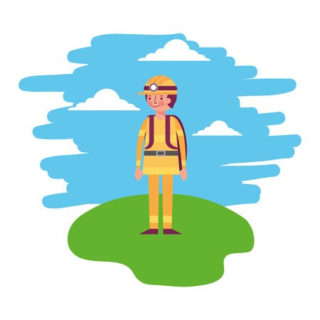 miner man standing in the landscape vector illustration Illusztráció