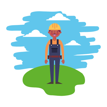 construction worker standing in the landscape vector illustration