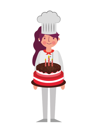 chef woman holding sweet birthday cake vector illustration