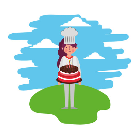 female chef with cake standing in the landscape vector illustration