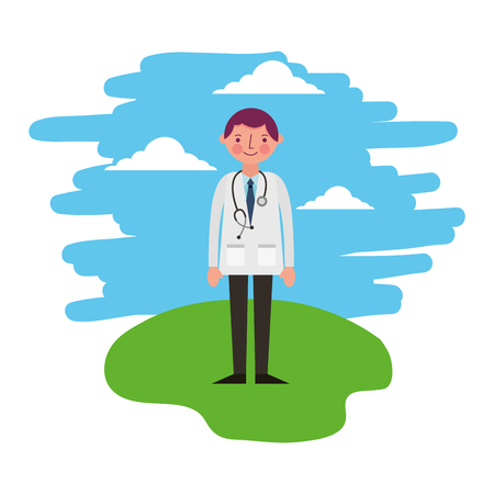 doctor with stethoscope standing in the landscape vector illustration