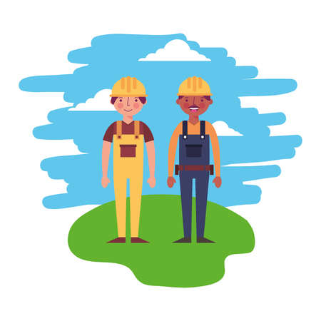construction contractor worker employee professional vector illustration