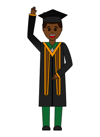 graduate man with graduation robe vector illustration Ilustrace