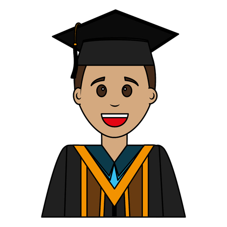 happy graduate man portrait character vector illustration