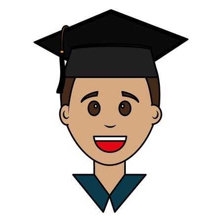 graduate man face with graduation hat vector illustration