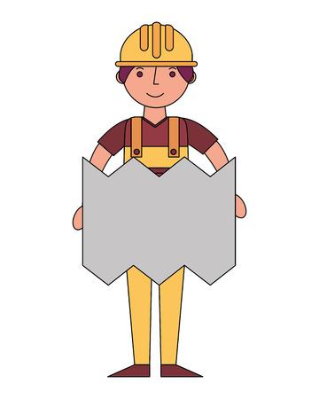 builder man construction with blueprint architecture vector illustration