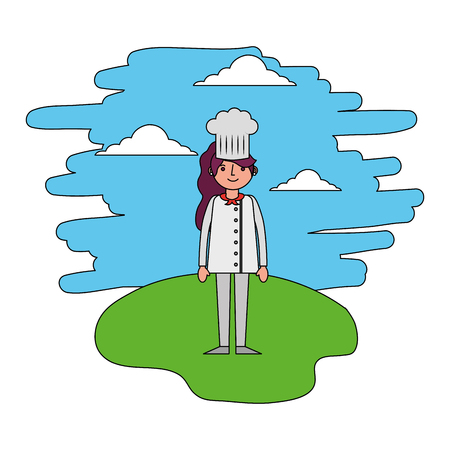 female chef standing in the landscape vector illustration