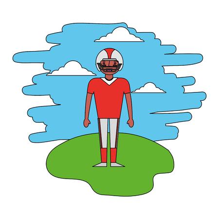 American Football-Spieler, der in der Landschaftsvektorillustration steht