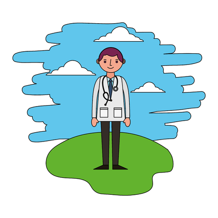 doctor with stethoscope standing in the landscape vector illustration Reklamní fotografie - 112388033