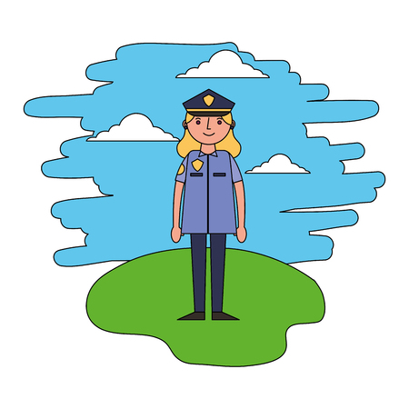 police woman standing in the landscape vector illustration Stock Illustratie