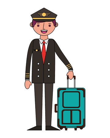 airline pilot with suitcase work vector illustration