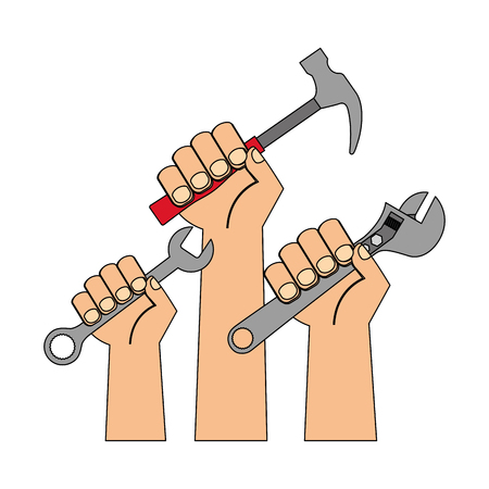 three hands holds hammer wrench and adjustable key vector illustration Stock Illustratie