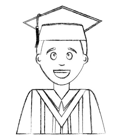 young man graduated avatar character vector illustration design 일러스트