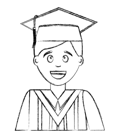 young man graduated avatar character vector illustration design Çizim